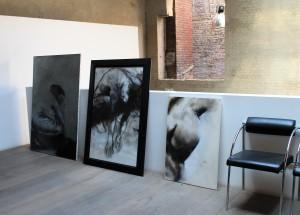 Toiles Angelica Ferrant vernissage à l'agence d'architecture Guillaume Da Silva Lille