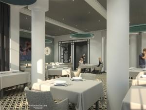 Modélisation 3d: La table du Golf ****, Golf Hôtel, brides les bains, station thermale, architecture intérieure guillaume da silva, architecture art déco, réhabilitation et rénovation, décoration du restaurant, salle du restaurant